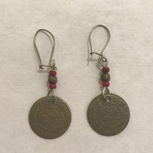 Gold coin dangling earrings with red & gold beads